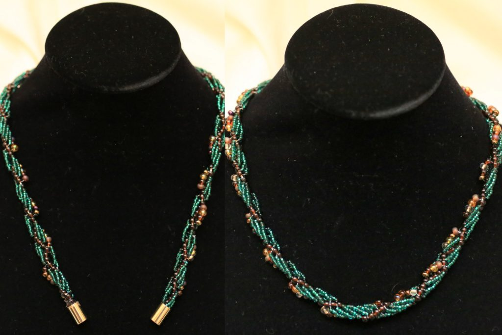 Woven-bead necklace.